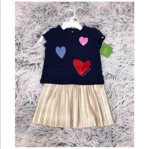 NWT Kate Spade Girls Tossed Hearts Skirt Set